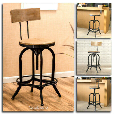 Industrial Swivel Bar Chair Stool Wood Metal Vintage Adjustable Modern Pub Iron