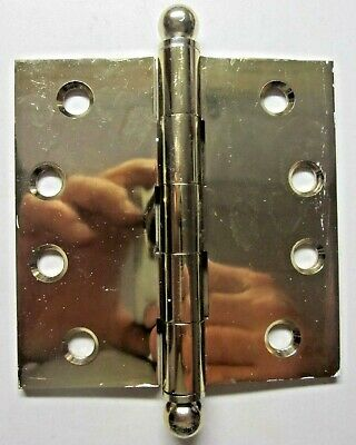 "1 Vintage 4"" Square Butt Hinge Ball Tips Finials Solid Shiny Brass Mortise Door"