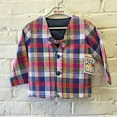 NWT Vintage 2T cotton Madras Plaid Jacket And Bow Tie Wee Willie