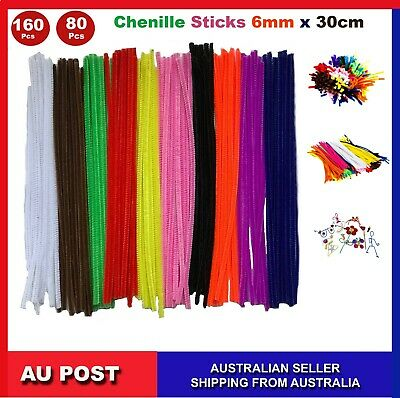 160, 80 Pcs infuse Pipe Cleaners Chenille Craft Sticks  Asst Colours 30cm