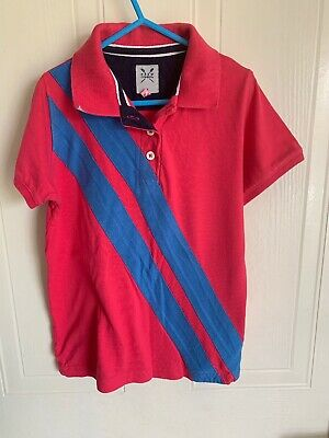 Girls Crew Clothing Age 6 Polo Shirt In Dark Pink With Blue Stripe