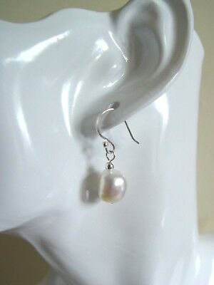Freshwater Baroque Nugget Pearl Earrings Sterling Silver Hooks UK Bridal Jewelry
