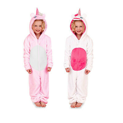 Nifty Kids 3D Unicorn Pink Or White All In One Child's Novelty Hooded Sleepsuit