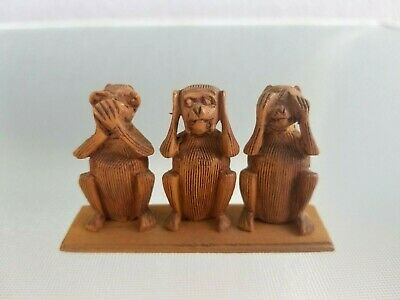 Miniature Carved Wooden Monkeys See Speak Hear No Evil Wood Vintage Figure Group