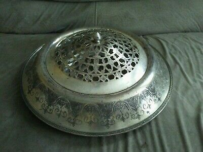 Large Wilcox S.P. Co 812 Paisley Flower  Frog 1920s Centerpiece Silverplate