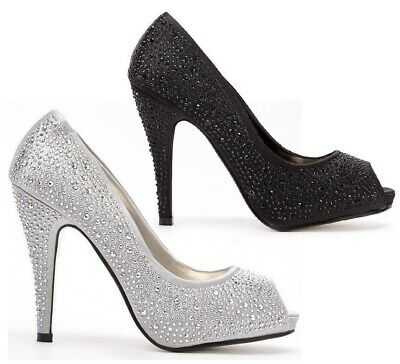 Womens Ladies High Heel Party Prom Work Pumps Peep Toe Court Shoes Sandals Size