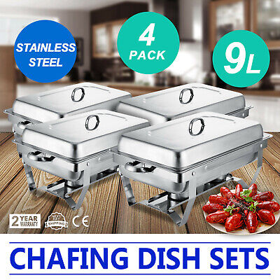 4 Pack of 9L Chafing Dishes Buffet Catering Rectangular Chafer Food Warmer