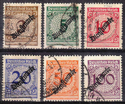 Stamp Germany Official Mi 099-104 Sc O47-52 1923 Dienst Reich Inflation Used
