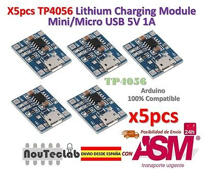 5pcs TP4056 1A 5V Lithium Battery Charging Module Mini/Micro USB Interface