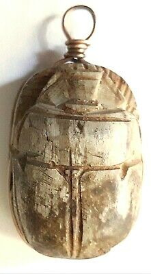 """Vintage Scarab Egyptian Revival Large Hand Carved Stone Pendant1.5"""" x 1"""""""