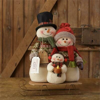 """New Country Primitive Rustic SNOWMAN DOLL FAMILY RIDING SLED 11/"""""""