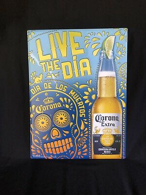 """CORONA EXTRA Beer Metal Sign Day of the Dead Skull 16""""x21"""" NEW Man Cave"""