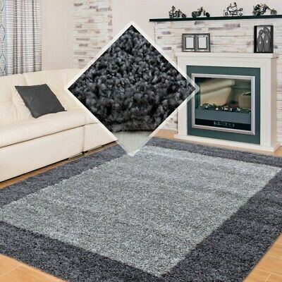 Large Silver Grey Shaggy Rug Smart Thick Soft Antished Small High Pile Room Rugs