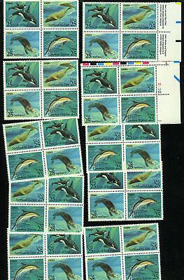 US #2508-2511 2508-11 2511a 25¢ Sea Creatures lot of 10 blocks of 4 NH MNH