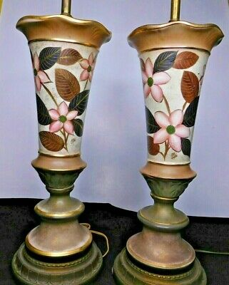 PAIR Mid Century Modern Floral Ceramic Lamps Hollywood Regency Hand Painted