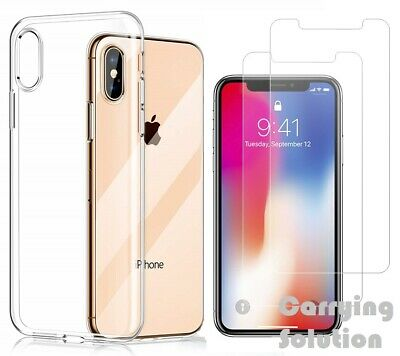 Case and 2PK Screen Protectors for iPhone XR X Xs Max 11 11 Pro Max Cover Clear