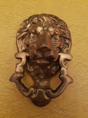 "Vintage Brass Lion Head Door Knocker 4"" x 2.5""  10 ounces"