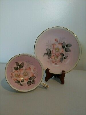 Vintage PARAGON Pink Large Flowers Hand Painted Double Warranted CUP SAUCER