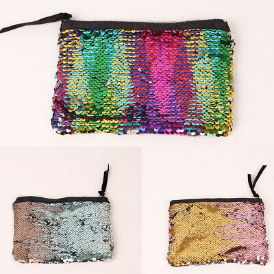 FT- AU_ Fashion Women Cosmetic Bag Pouch Home Travel Sequin Zipper Make Up Handb