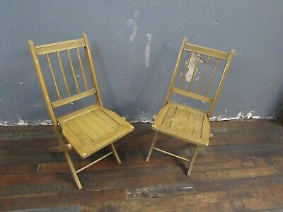 Vintage BEAUTIFUL Pair Wood Folding Slat Chairs - 2 Chairs TOTAL!