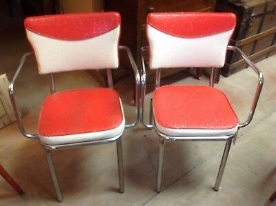 AWESOME Vintage Chrome & Red White Sparkle Vinyl ARM CHAIRS Atomic Retro DOUGLAS