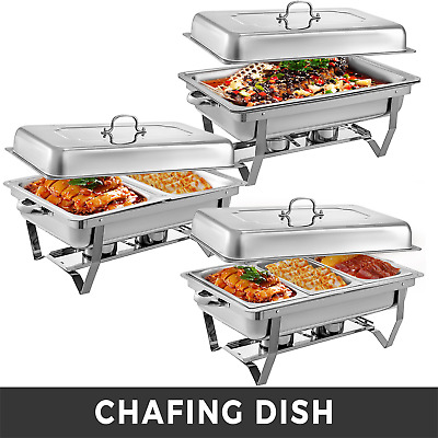 Stainless Steel Chafing Dishes 9L with 1/2 1/3 Inserts Chafer Buffet Warm Tray