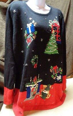 Womens B.p.design Pullover Ugly Xmas Black/Red Sweater Xmas Trees  Sz Large