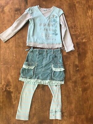 Pampolina 3ps GIRLS blue OUTFIT SIZE5/6 embro skirt,top,leggings back to school