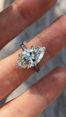 Fashion Marquise Cut White Sapphire CZ 925 Silver Ring Women Engagement Jewelry