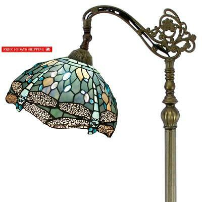 Tiffany Style Reading Floor Lamp Sea Blue Stained Glass With Crystal Bead Dragon