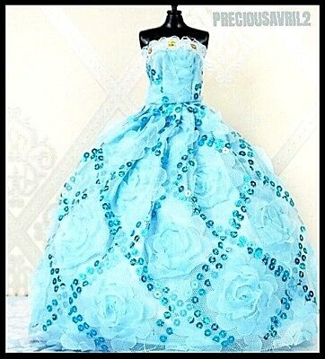 Brand new Barbie doll clothes outfit princess wedding dress blue embroidered.