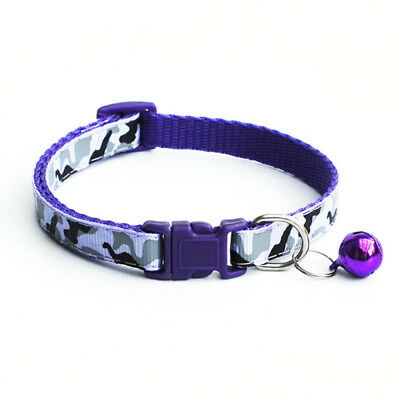 2pcs Pet Kitten Cat Adjustable Pet Dog Tie Safety Collar Bell Supply Purple N2C