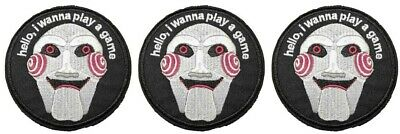 Saw Horror Movie Jigsaw 3.5 Inches Tall Embroidered Iron On Patch Set of 3