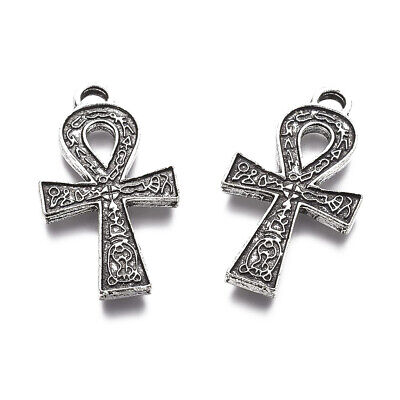 10pcs Tibetan Ankh Cross Pendant Antique Silver Finding Charm Chain Necklace