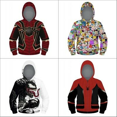 Spider man Zipper Hoodie Children's Sweater Jacket Coat Kids Hooded Sweatshirt
