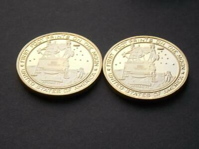 2 1969 Apollo 11 Moon Landing Gold Plated Coins Neil Armstrong Buzz Aldrin NASA