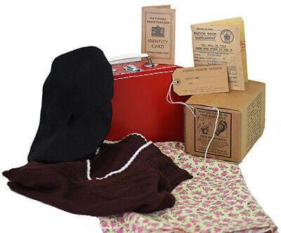 1940s Wartime History Day Tank Top-Beret-Skirt-Suitcase Gas Mask Box&Accessories