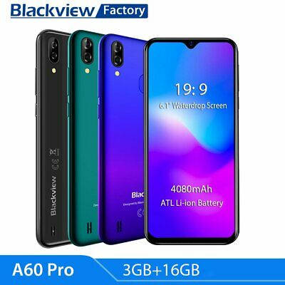 "Blackview A60 Pro Android 9.0 3+16GB Touch ID Quad Core 6.08"" 4080mAh Smartphone"