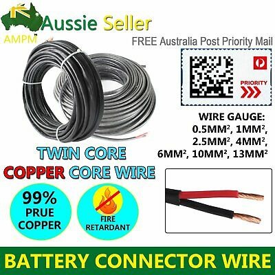 2 Core Wire (2.5mm, 6mm, 10mm, 13mm) Battery Cable Dual Twin Sheath Marine Auto