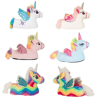 Nifty Kids 3D Flying Unicorn Slippers Girls Novelty Animal Sparkly Soft Footwear
