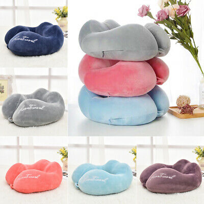 Travel Pillow Memory Foam U shaped Neck Support Head Rest Airplane Soft Cushion
