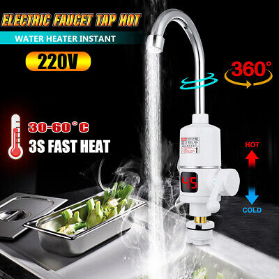360° Electric Instant Heater Faucet Tap 3KW Hot Water For Home Bathroom Kitchen