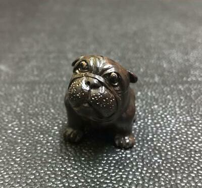 Lovely Japan vintage wooden bulldog Dog puppy Netsuke signed antique inro ojime