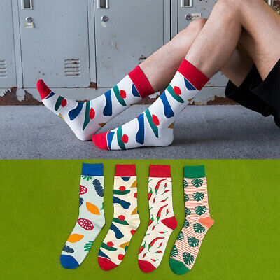 Mens Combed Cotton Socks Warm Funny Vegetables & Fruit Novelty Casual Dress Sock