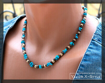 Mens surfer necklace, Turquoise chips beads necklace, Mens beach beaded necklace