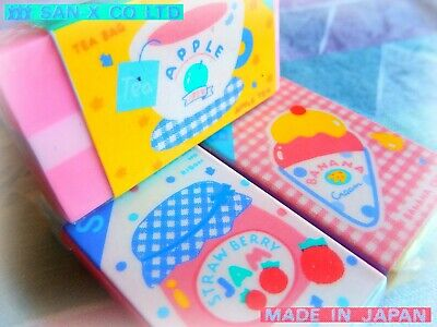 🍓 VINTAGE 1980 JAPAN SAN-X Fruity Sealed ERASERS gomme gommine NO-CONTEMPORARY☕