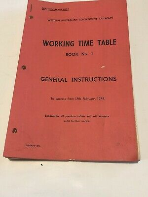 WAGR Working Time Table Book 1  Handbook Booklet 1974