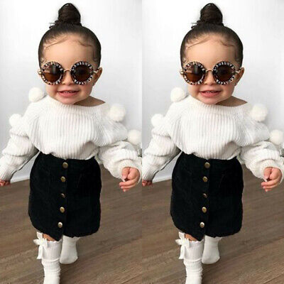 Toddler Kids Baby Girls Autumn Clothes Knit Tops+Button Skirts Outfits Cotton