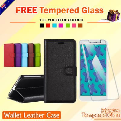 Optus X Start Wallet Leather Flip Stand Magnetic Case Cover + Tempered Glass