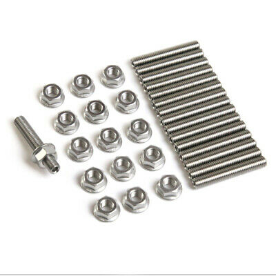 Engine Manifold bolt Stainless Exhaust Stud Kit Nuts Replacement For Fo YHV